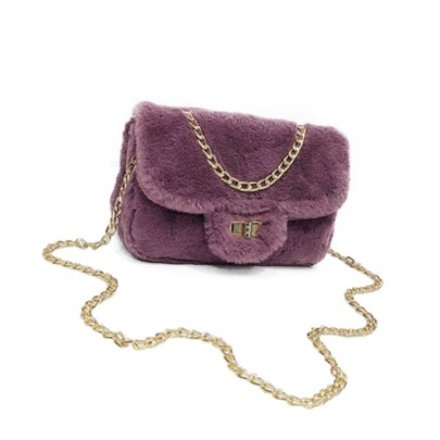 Trendy Soft Plush Chain Cross Body Bag