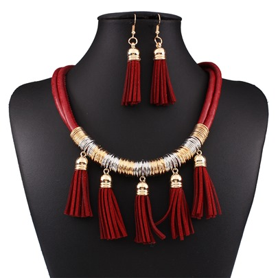 Artificial Leather Alloy All Match Tassel Jewelry Sets