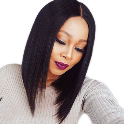 Straight African American Synthetic Lace Front Wigs 14 Inches (Average)