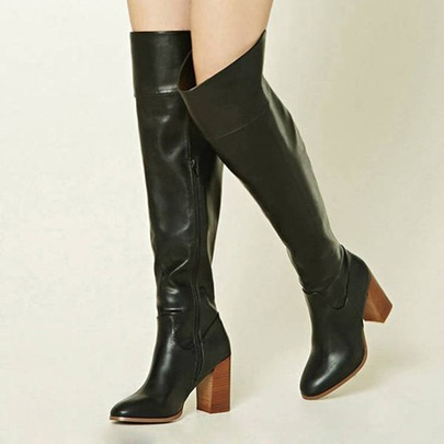 Side Zipper Thick Heel Black Classic Knee High Boots for Women