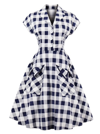 Pockets Plaid Women's Day Dress