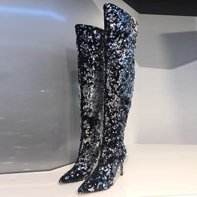 Pointed Toe High Heel Sequin Slip On Women's Thigh High Glitter Boots