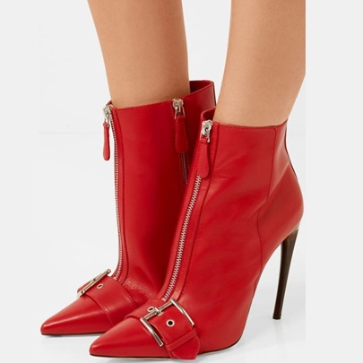 Red Buckle Zipper High Heel Ankle Boots for Women