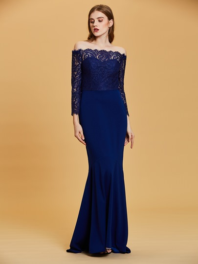 Off-the-Shoulder Long Sleeves Mermaid Evening Dress