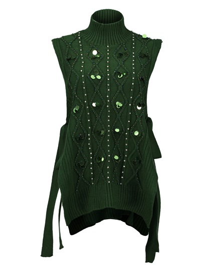 Sequins Beading Decorative Vacation Sleeveless Women's Sweater