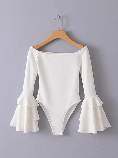 Petals Sleeve Backless Plain Slim Women's Romper