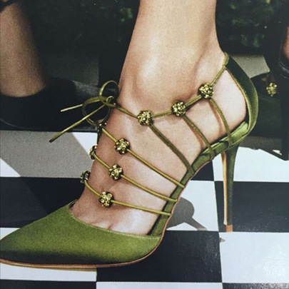 Kelly Green Pointed Toe Lace Up Rhinestone Women's Chic Pumps