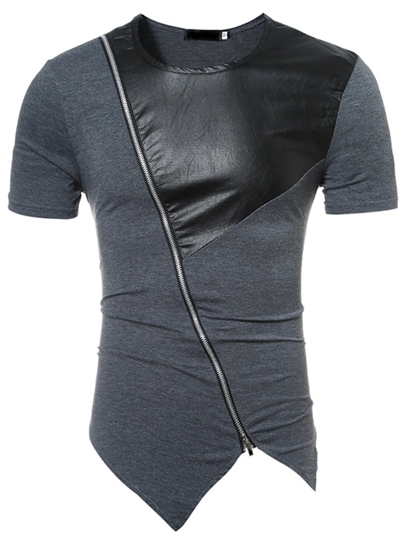 Round Collar Inclined Zipper Patchwork Slim Mens Short Sleeve T-Shirt Round Collar Inclined Zipper Patchwork Slim Men's Short Sleeve T-Shirt