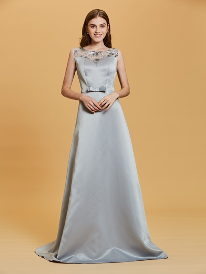 Scoop Neck Sequins A Line Sashes Evening Dress