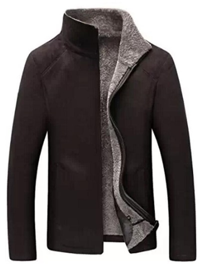 Stand Collar Men's Shearling Coat with Solid Color