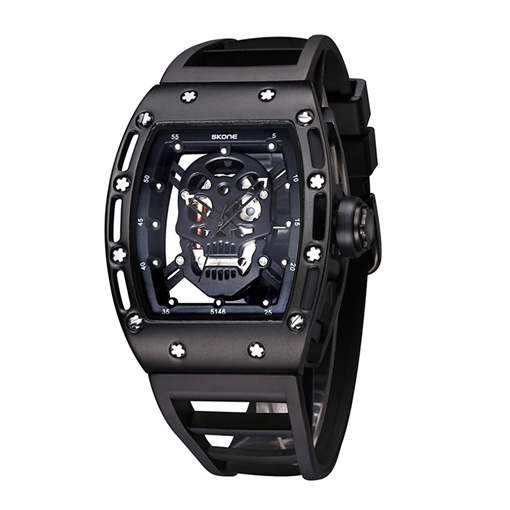 Alloy Silicone Waterproof Buckle Strap Men's Watches