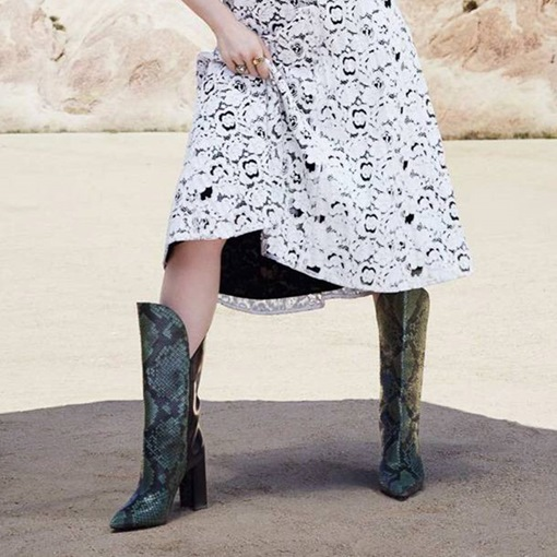 Blue Serpentine Pointed Toe Chunky Heel Women's Cowboy Boots