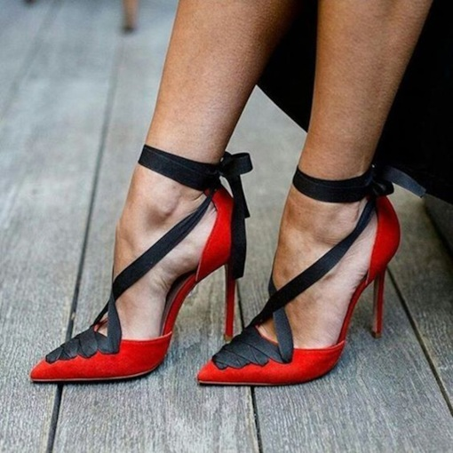 Lace-Up Spitzschuh Stiletto Pumps