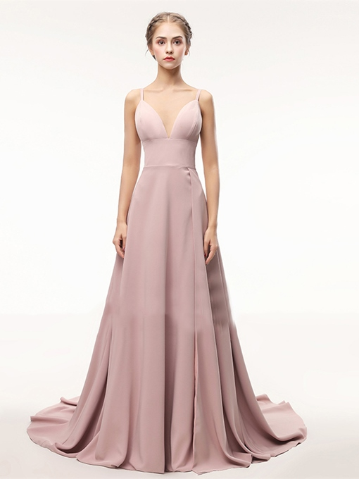 Spaghetti Straps Split-Front A-Line Evening Dress
