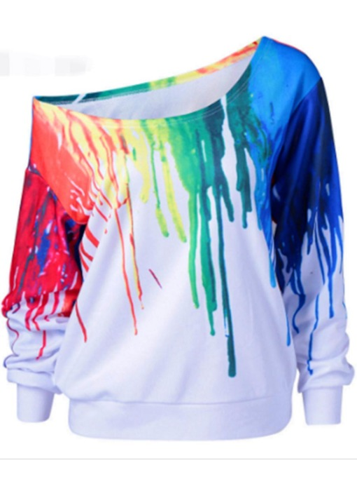 Loose Doodle Color Block Women's Sweatshirt