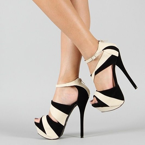 Color Block Peep Toe Platform Women's High Heels