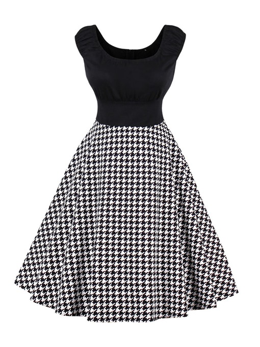 Back Zipper Plaid Women's A-Line Dress