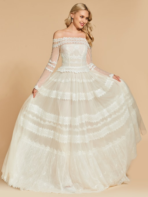 A-Line Off-the-Shoulder Long Sleeves Lace Evening Dress