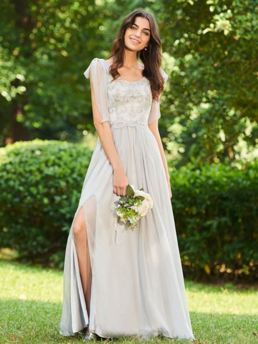 Appliques Straps Split-Front Long Bridesmaid Dress