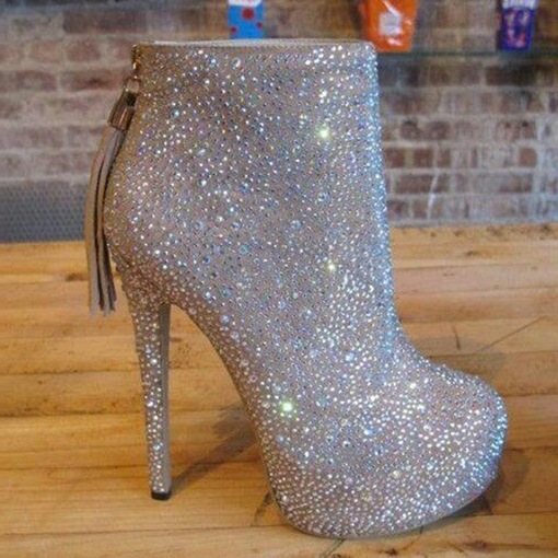 Full Rhinestone Platform High Heel Boots Wedding Shoes