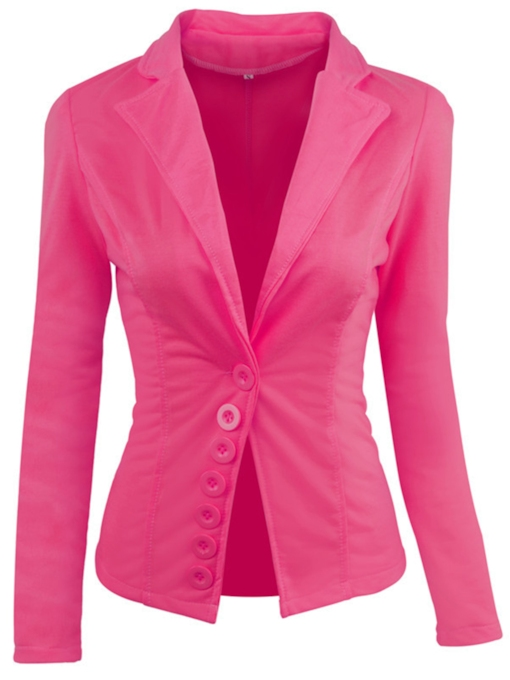 Asymmetrical Button Plain Slim Women's Blazer