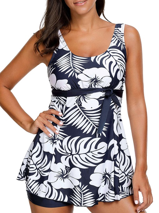 Flower Print U-Neck Bowknot Tankini Set