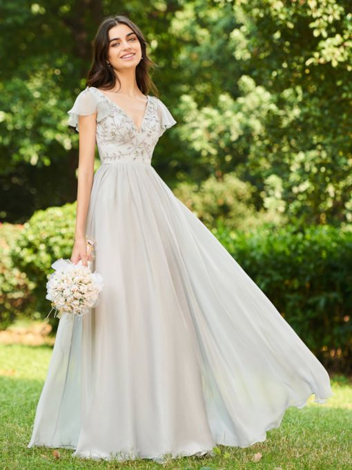 V-Neck Cap Sleeve Beaded Long Bridesmaid Dress