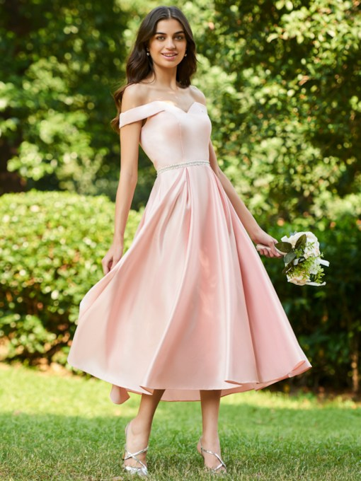 Off the Shoulder Beaded Belt Tea-Length Bridesmaid Dress