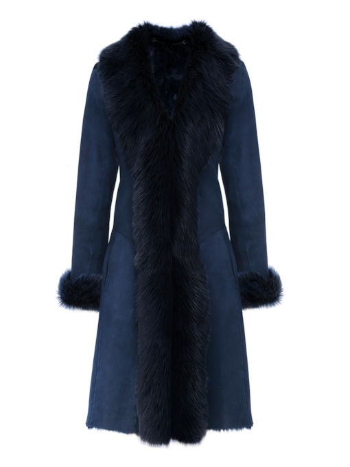 Wide Faux Fur Collar Long Polar Fleece Women's Overcoat