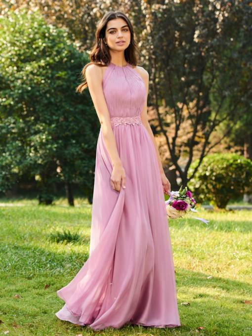 Appliques Beaded Halter Long Bridesmaid Dress