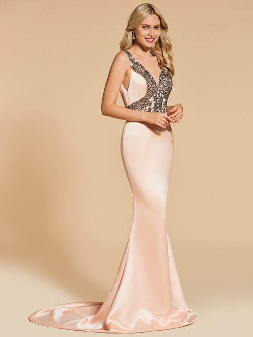 Straps Trumpet Appliques Beaded Court Train Evening Dress