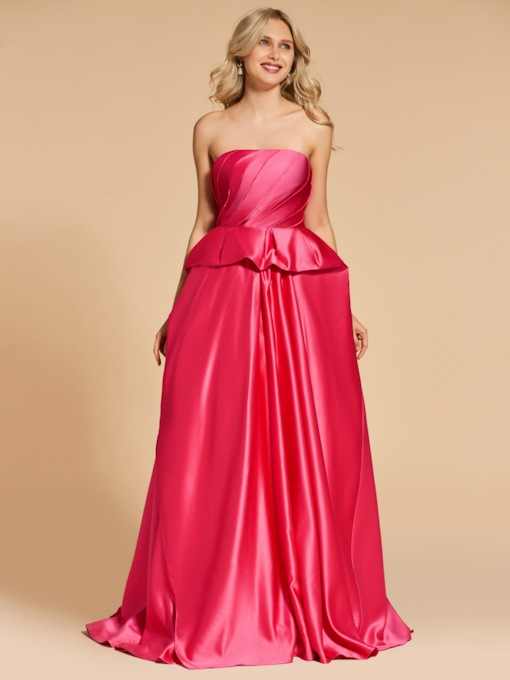 Strapless Ball Gown Ruffles Long Evening Dress