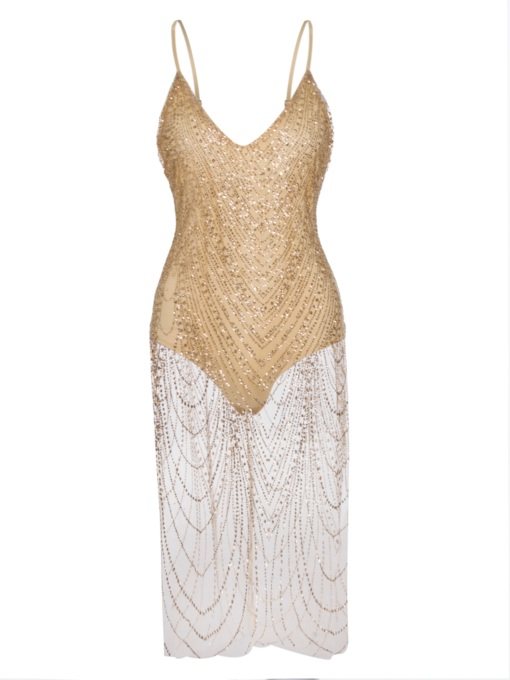 spaghetti strap sequins see-through robe moulante pour femmes