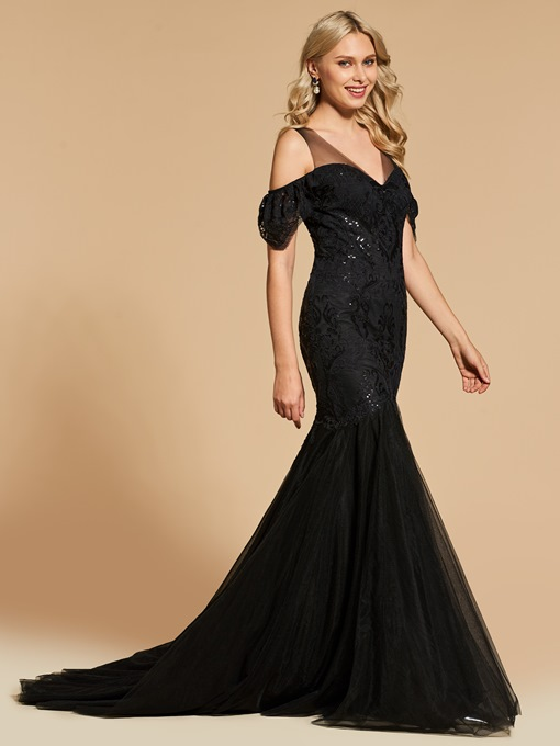 Trumpet Lace Sequins Open Shoulder Short Sleeves Evening Dress