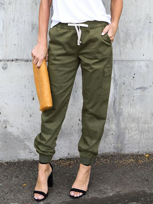 Elastic Waist Belt Tie Labor Slacks Women's Casual Pants