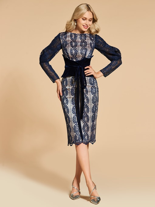 Long Sleeves Sheath Lace Bateau Cocktail Dress