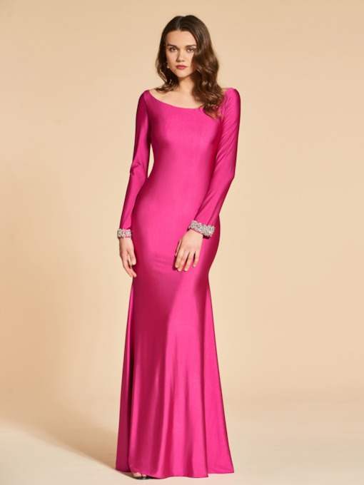 Trumpet Beading Long Sleeves Bateau Evening Dress