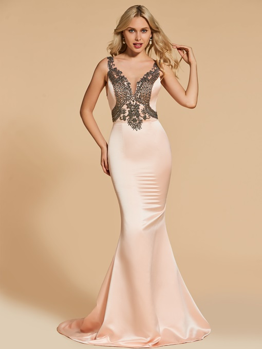 Straps Beading Mermaid Evening Dress
