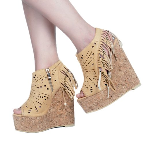 Fringe Rivet Hollow Platform Wedge Shoes for Women