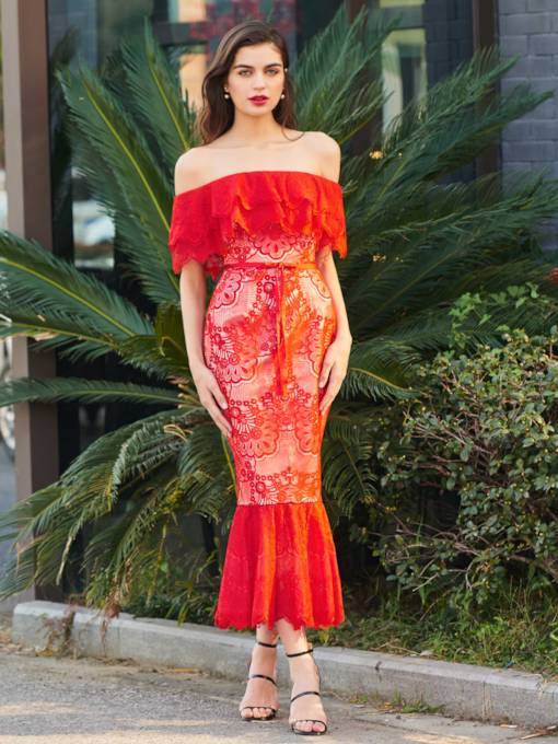 Off-the-Shoulder Trumpet Lace Sashes Cocktail Dress