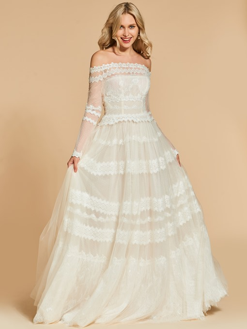 A-Line Off-the-Shoulder Long Sleeves Lace Long Evening Dress