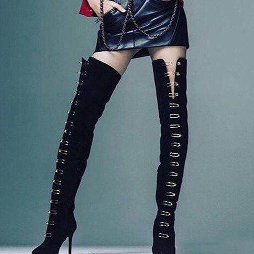 Black Suede Buckle High Heel Women's Thigh High Chic Boots