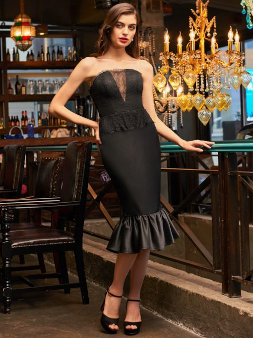 Sheath Lace Strapless Tea-Length Cocktail Dress