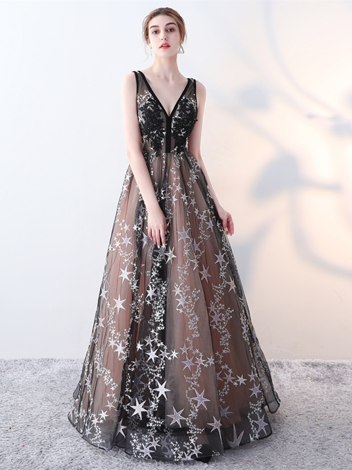 A-Line Embroidery V-Neck Lace Evening Dress