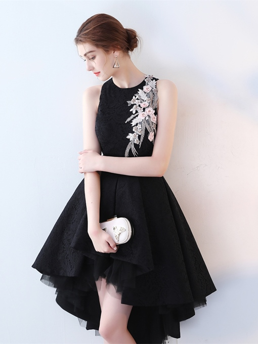 Jewel Neck Embroidery Lace High Low Cocktail Dress