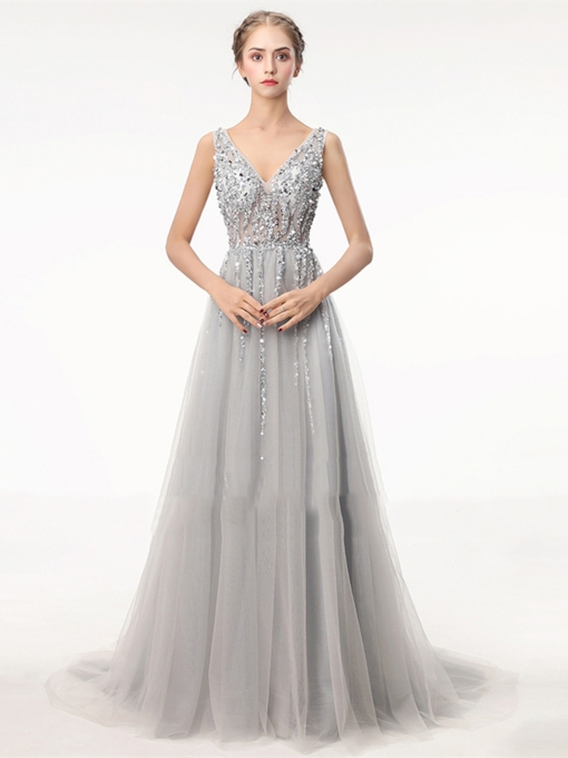V-Neck A-Line Beading Embroidery Evening Dress