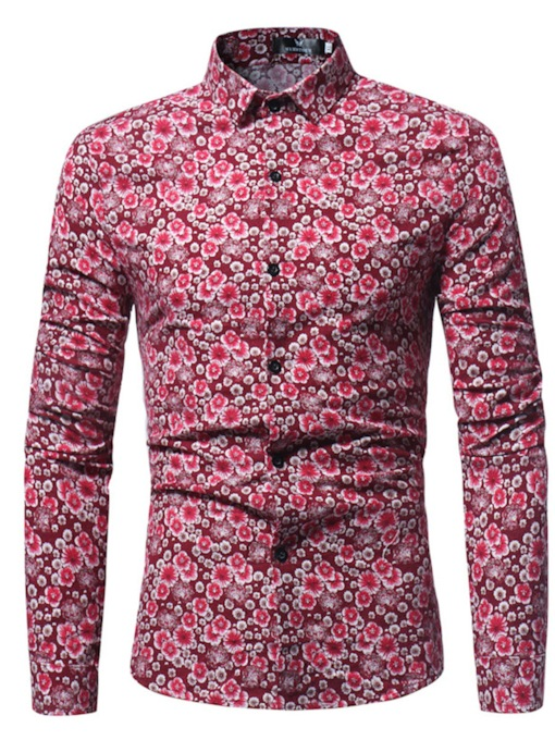 Lapel Floral Print Slim Men's Shirt