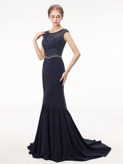Beading Rhinestone Embroidery Trumpet Scoop Evening Dress