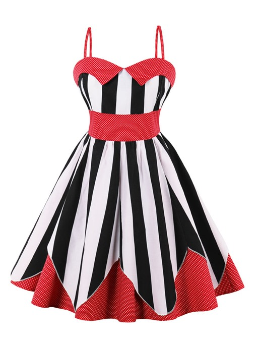 Spaghetti Straps Striped Women's A-Line Dress