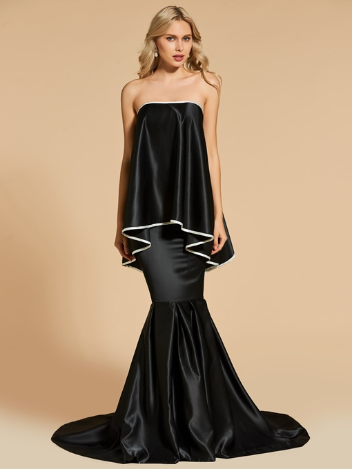 Strapless Mermaid Court Train Evening Dress